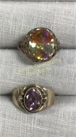 12 Size 6 Rings Marked Sterling Semiprecious