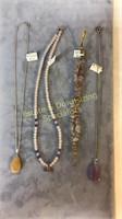 3 Necklaces Sterling Amethyst Jade