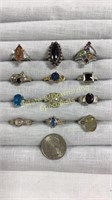 12 Size 7 Rings Marked Sterling Semiprecious