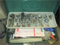 Metal Tool Boxes with Tools, Nuts, Bolts