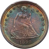 25C 1890 PCGS MS68 CAC