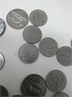 Canadian & Bermuda Coin Currency w/Coin Holder