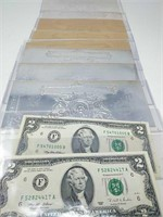 Pair of $2 Bills, and 5 Silver & 3 Gold Foil