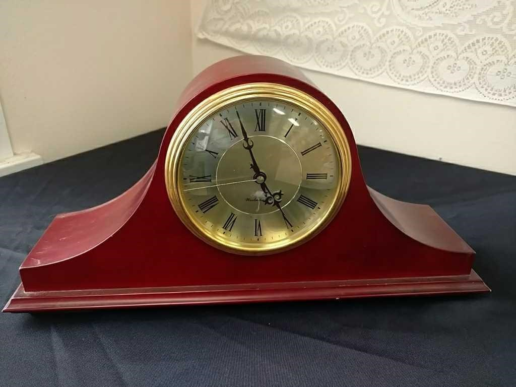 Burgundy Battery Operated Mantel Clock