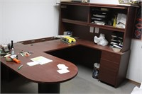 U-Shaped Office Desk with Hutch and Storage -