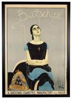 """Emilio Vila (Spanish, 1887-1967) Batschari Cigarettes poster (c. 1925), 49 ½"""" x 34 ½"""" sight, 52 ½"""" x 37 ½"""" overall"""