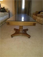 Beautiful Vintage Wooden Coffee Table with Glass