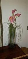 Vintage Blenko Stretch Glass Vase with Floral
