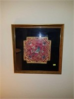 Beautiful Framed Bird Silk Fabric