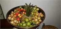 Large Vintage Asian Metal Bowl Fruit & Stand