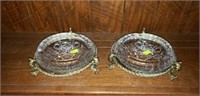 Very Nice Pair Vintage Etched Glass Ashtrays