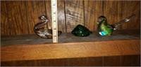 Lot of 3 Blown Glass Birds Shell