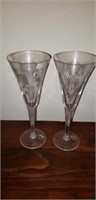 Lot of 2 Waterford Crystal Long Stems Etched Name