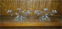 Beautiful Pair of Depression Candleholders Glass