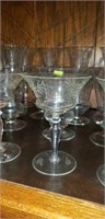 19 Piece lot of Beautiful Etched Crystal Stemware