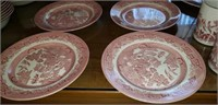 39 Piece Estate lot of Red Willow Dishes England