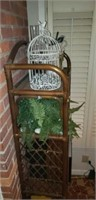 Rattan patio shelves with contents