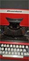 Vintage Red President Tom Thumb typewriter