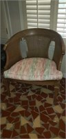 Mid century modern wide chair with cushion