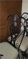 Nice wooden top table with iron base & 4 chairs