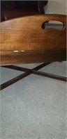 Wooden and glass top coffee table, sides fold up