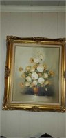 floral oil on canvas signed by Robert Cox