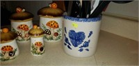 3 pc canister set, pottery jar, utensils