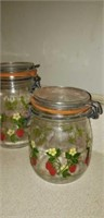 Set of 4 glass canister set with strawberries