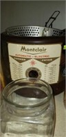 Montclair electric fryer, harvest canister set