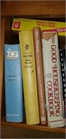 Estate lot of cookbooks, stand, pots, & more