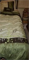 Beautiful queen size bed with blankets, etc