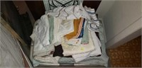 Lot of 2 Prints & Basket of Linens
