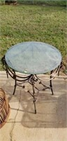 Beautiful outdoor glass top table iron