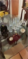 Estate lot of glass cups, vintage radio, etc
