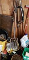Hedge trimmer, pots, bolt cutters, sprayer