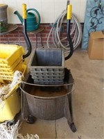 Large lot of Mop Buckets, Mops, & Accessories