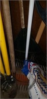 Yard tools, gas can, paddle, mop,