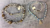 9 Piece Beaded Necklaces & Bracelets Qrtz + Glass