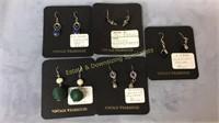 4 Pr Sterling & 1 Pr GF Semiprecious Wire Earrings
