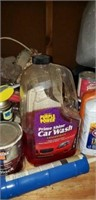 Vintage bread box, misc lot of garage items