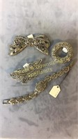 4 Pc SS Marcasite Locket Watch Bracelet + Brooches