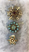 8 Piece GF Semiprecious and Other Brooches