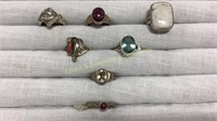 7 Semiprecious Rings Marked Sterling Size 6