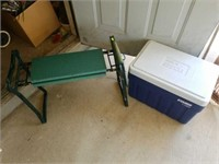 Lot of Explorer Cooler & Green Planters Stool