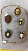 5 Piece Cameo Jewelry Bronze and Gold Toned