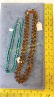 2 Necklaces Knotted Amber Glass & Blue Seed Beed