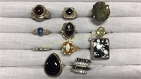 11 Rings Size 7 Various Stones & Shapes
