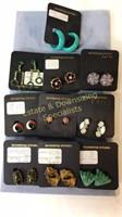 10 Pair Carded Clip Earrings Various Stones