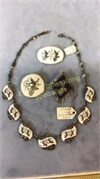 Unique Sterling Siam Set Necklace and 3 Brooches