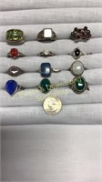 12 Semiprecious Rings Marked Sterling Size 8